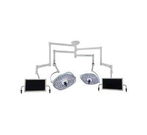 Dual, Variable-Focus 30/24 Inch LED Surgical Lighting Fixture with Dual Monitor Arms