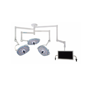 Triple, Variable-Focus 24 Inch LED Surgical Lighting Fixture with Monitor Arm