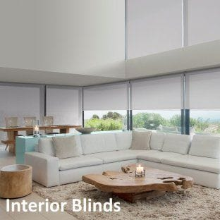 Living room with modern roller blinds