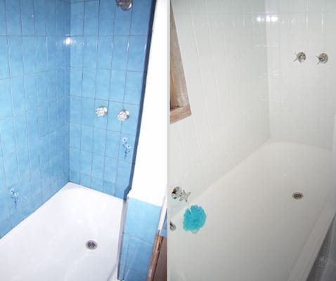 浴室表面翻新前后的照片