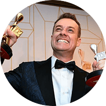 Grant WINS the Gold Logie for 'Best Personality on Australian TV', and Silver Logie for 'Best Presenter'