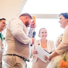 Farren & Rowan with marriage celebrant Liz Pforr, Braeside Chapel