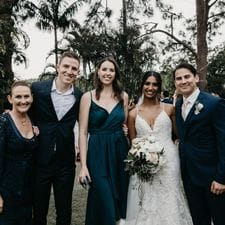 Marriage celebrant Liz Pforr with 2 happy couples she's married
