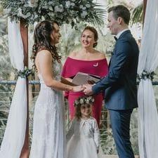 Lyndon + Maja with Liz Pforr Wedding Celebrant at Pethers Rainforest Retreat photo Louis Hartland Photography