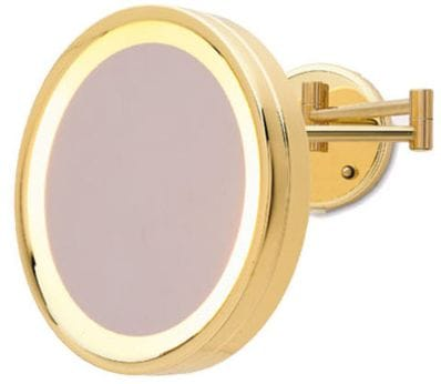5X  Lighted Wall Mount Mirror: HL75Gold    Plug In