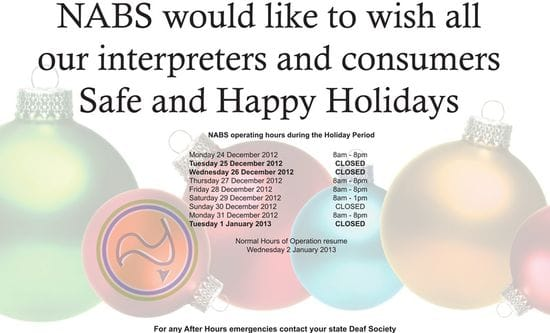 Operating Hours during Holiday Period