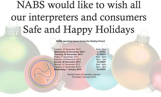 Operating hours during festive season