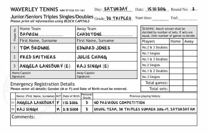 Sample Scoresheet