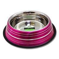 Bainbridge Dog Bowl Stainless Steel Metallic Coloured Stripes 1.8Ltr