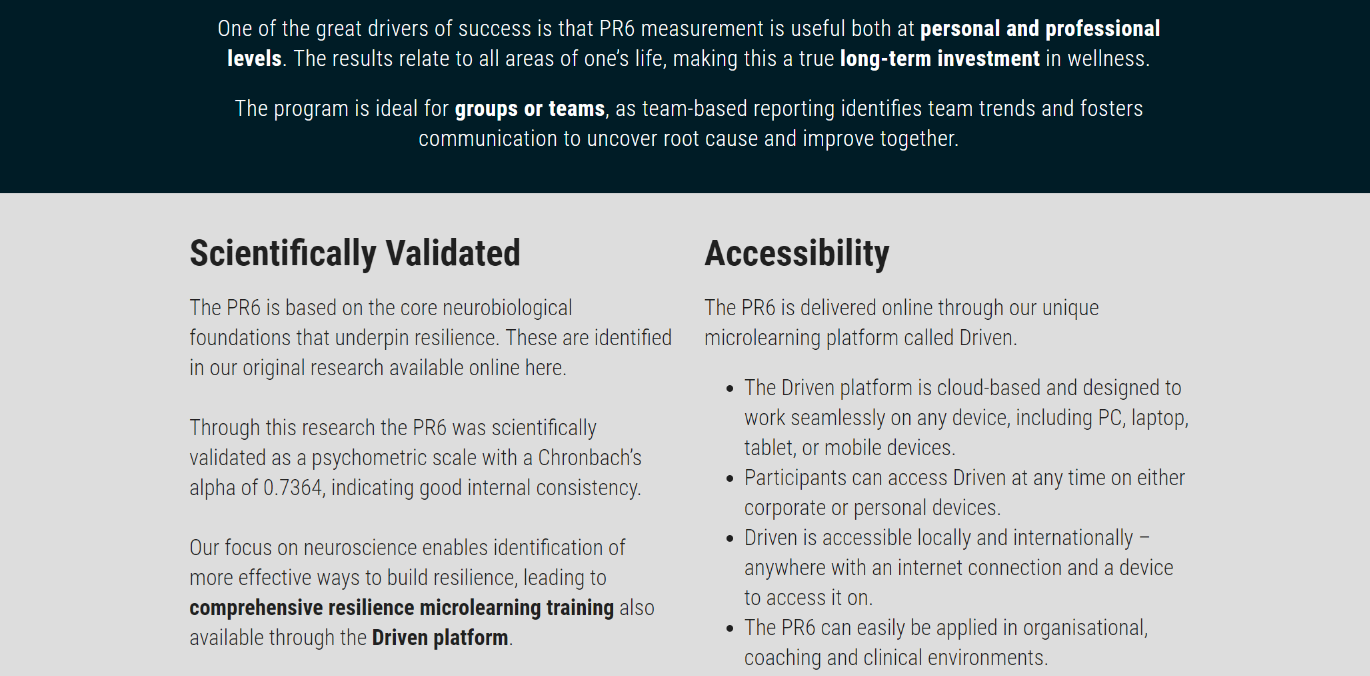 PR6 Resilience Assessment, Training and Accreditation available at Talent Tools