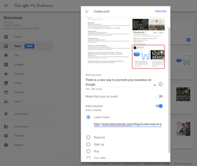 Adding a post to Google MY business