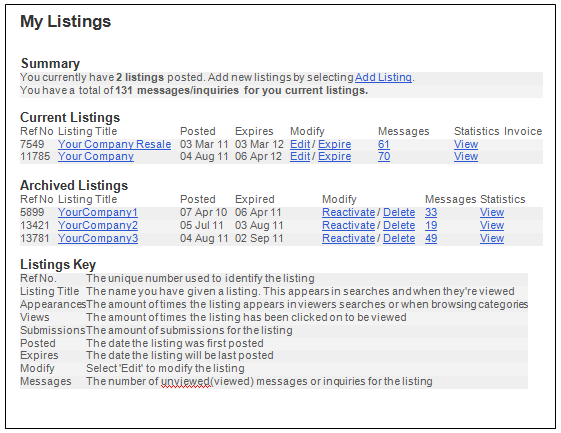 My Listings Page