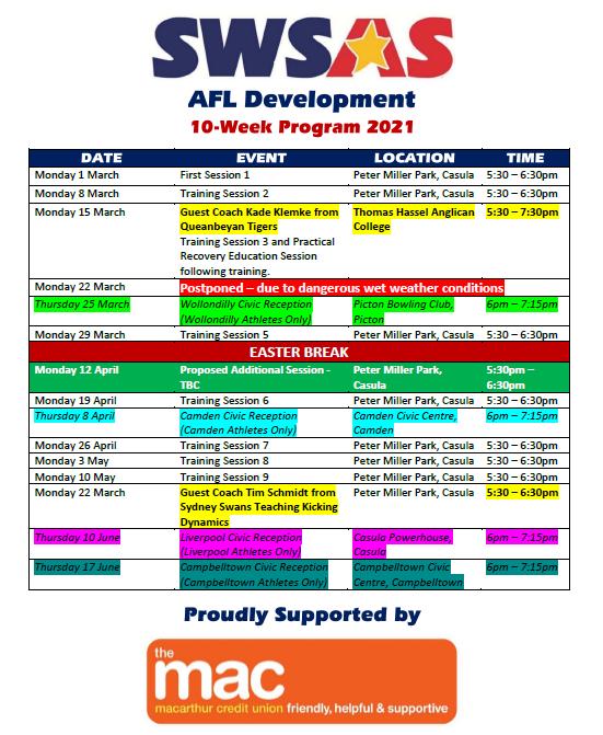 SWSAS AFL Development Calendar