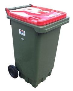 140L Green Wheelie Bin with Red Lid