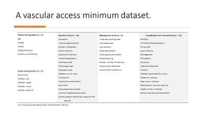 A vascular access minimum dataset