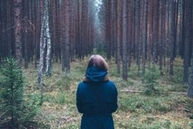 A girl lost in the woods