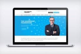The Leadership Framework homepage on a laptop