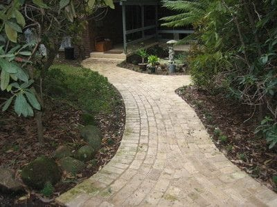 Cream brick pavers