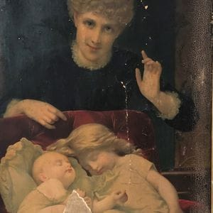 Before image restoration of paper on canvas artwork