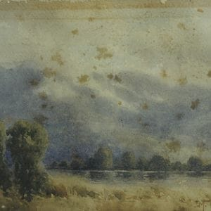 Before image restoration on a water coloured painting heavily foxed