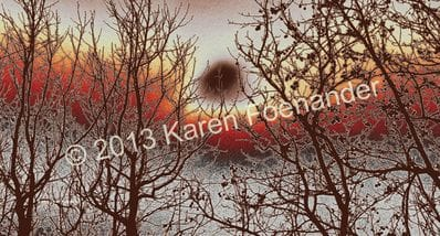 Trees in Red and Beige - Karen Foenander