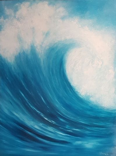 Wave - Vertical Blue by Imelda Donnelly