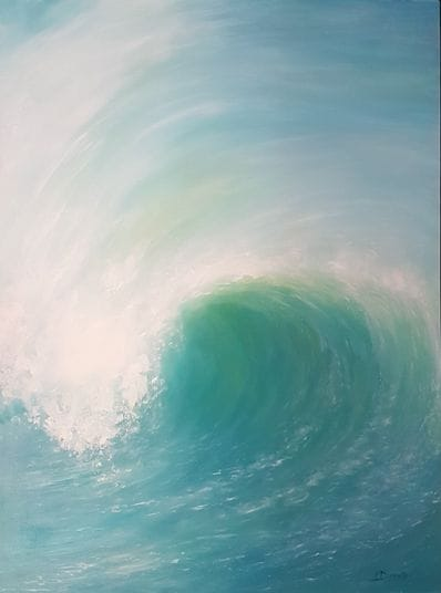 Wave - Vertical Aqua by Imelda Donnelly