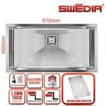SWEDIA DANTE Kitchen Sink 810mm Super Bowl - 1.5mm thick Stainless Steel