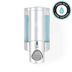 AVIVA 300ml Soap and Sanitiser Dispenser 1 - Satin Silver with Translucent Chambers