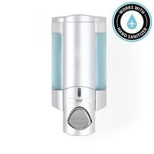AVIVA 300ml Soap and Sanitiser Dispenser 1 - Satin Silver with Translucent Chambers