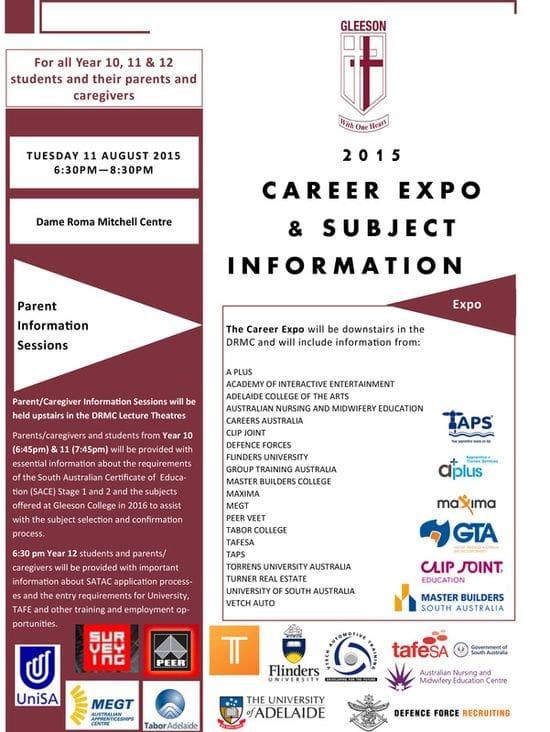 Gleeson Careers Expo & Subject Information Evening 2015