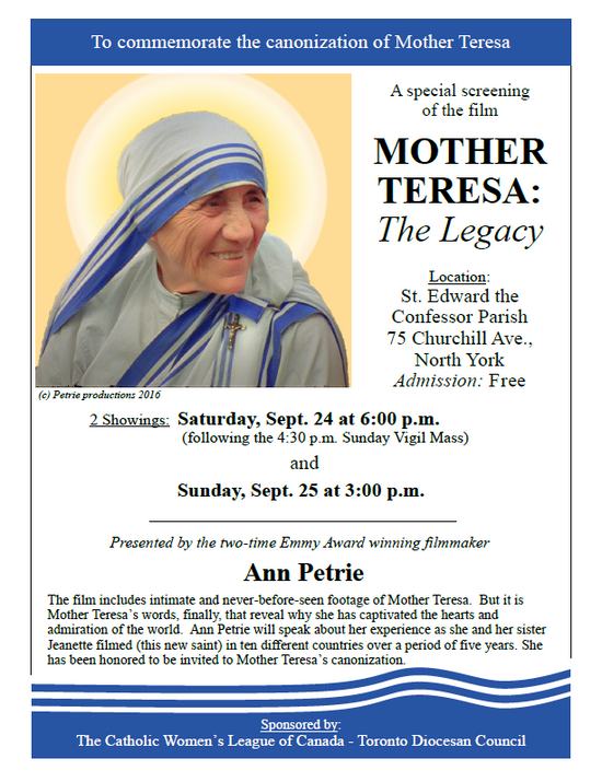 Film Screening   Mother Teresa: The Legacy