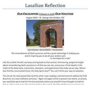 Lasallian Reflection for August 2019