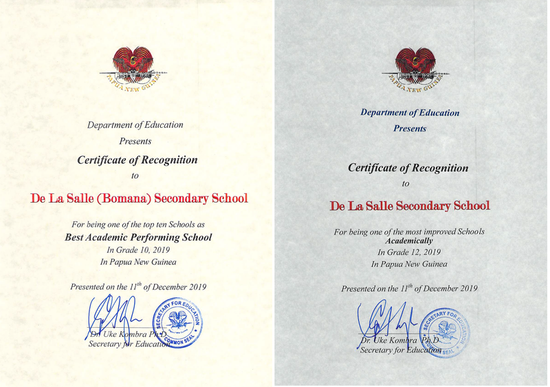 De La Salle Secondary School Bomana awarded for best academic performance in 2019
