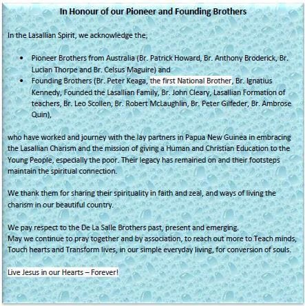 PNG Lasallian Family acknowledge Brothers