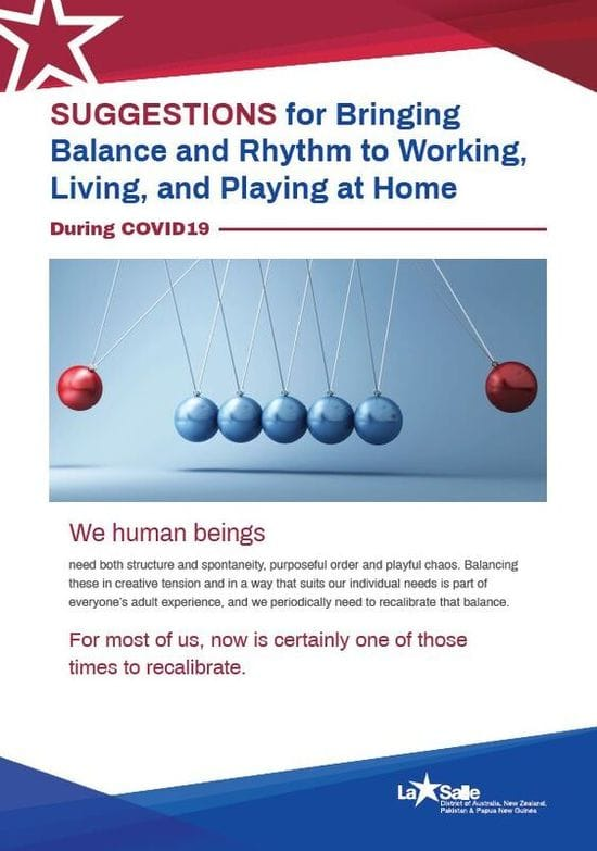 Resource: Suggestions for Bringing Balance and Rhythm to Working, Living, and Playing at Home