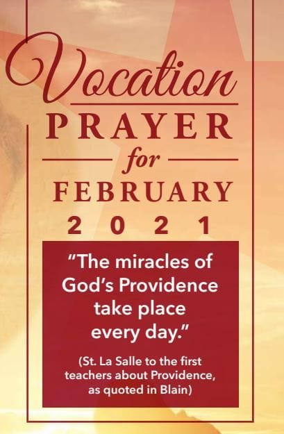 """Vocations Prayer February 2021 - The Miracles of God's Providence take place every day"""""""