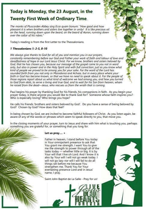 Daily Gospel Reading for MONDAY 23/8/2021
