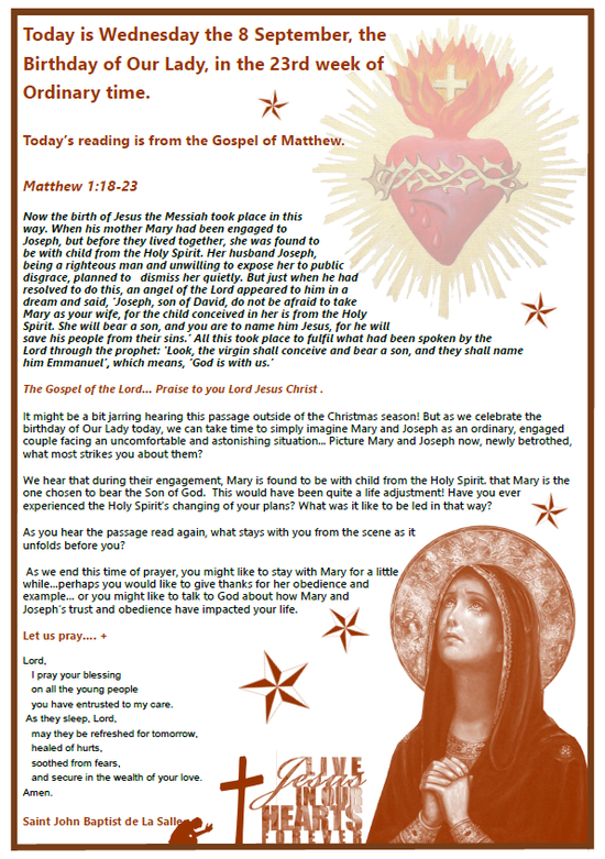 Daily Gospel Reading, a reflection and a prayer: WEDNESDAY 8/9/2021