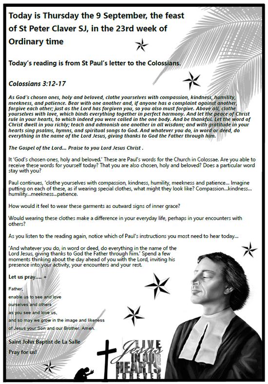 Daily Gospel Reading, a reflection and a prayer: THURSDAY 9/9/2021