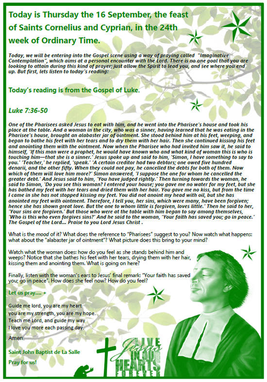 Daily Gospel Reading, a reflection and a prayer: THURSDAY 16/9/2021