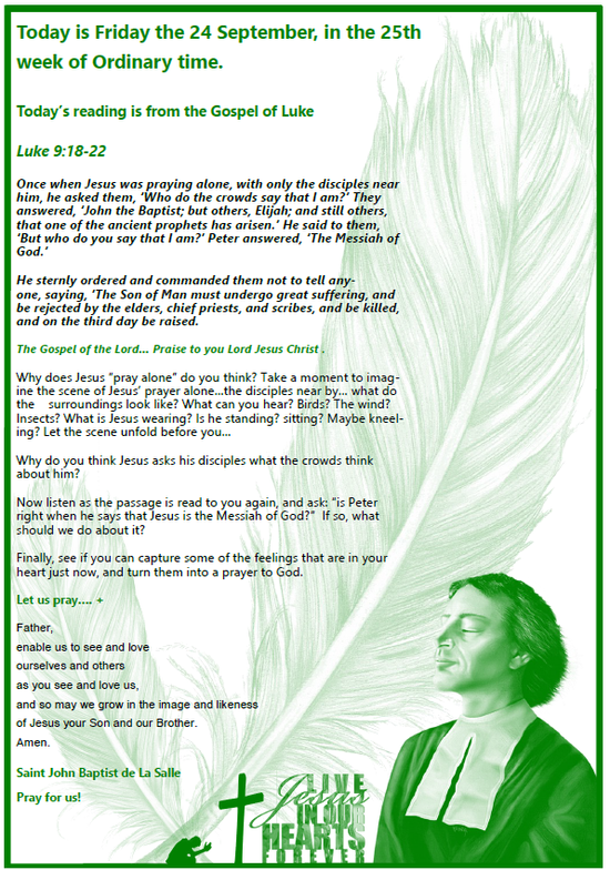 Daily Gospel Reading, a reflection and a prayer: FRIDAY 24/9/2021