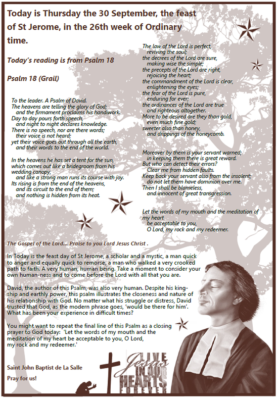 Daily Gospel Reading, a reflection and a prayer: THURSDAY 30/9/2021