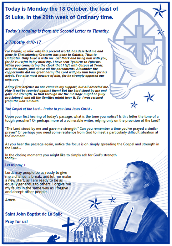 Daily Gospel Reading, a reflection and a prayer: MONDAY 18/10/2021