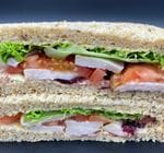 Smoked Chicken Sandwich - Full (with smoked chicken ,salad, cranberry sauce, in-house mayo and mature cheese)