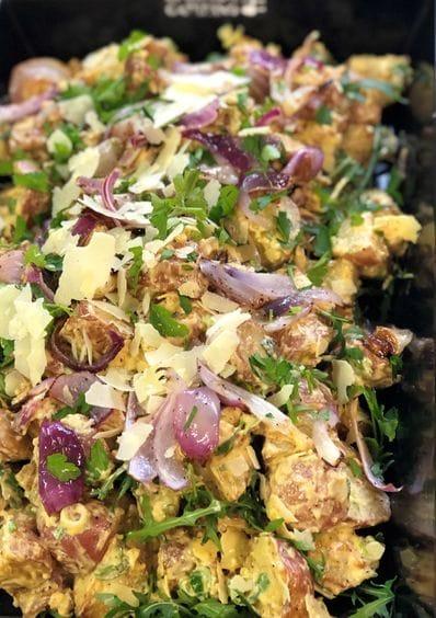 Potato with Parmesan Walnut Garlic Mayo