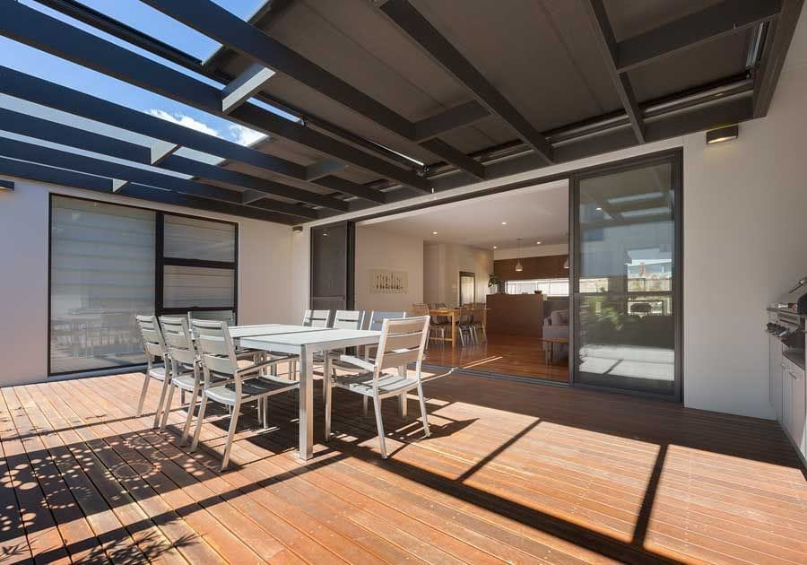 Sundream Retractable Roofing Awning is motorised on extruded aluminium tracks with 140 powder coated colour choices