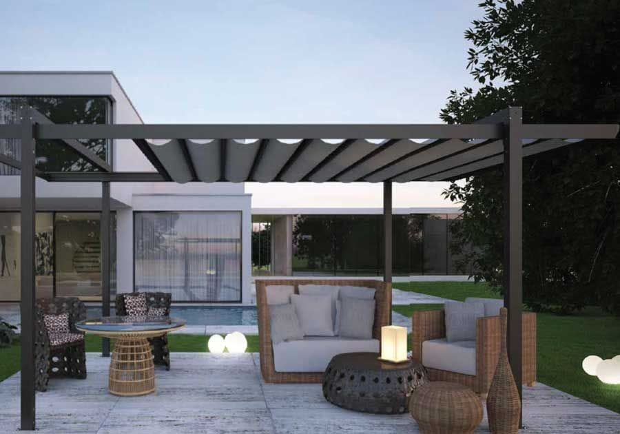 Sintesi Retractable Roofing Awning is elegant, can be freestanding or wall mounted, italian designed and made in australia