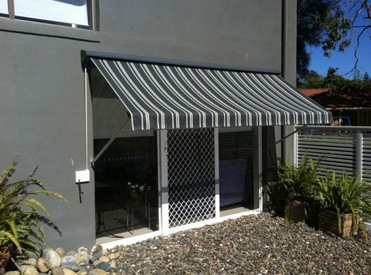 Standard pivot arm awnings have fixed brackets and designed for brick fitting only