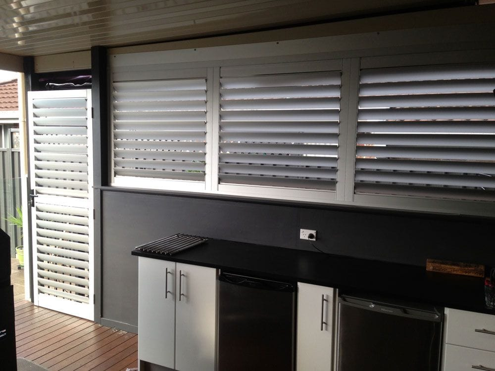 Aluminium Louvre Shutters in BBQ Area can be fixed or movable, filter local noise and add comfort to your outdoor living